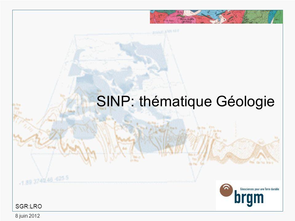 > 2 Géologie : - ensemble de données relativement bien structuré; - bénéficie dune des missions du BRGM (mise à disposition du public des données du sol et du sous-sol).