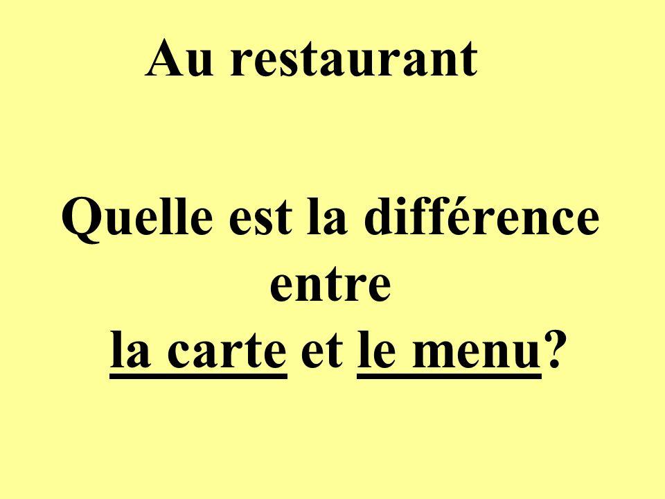 Au restaurant Quelle est la différence entre la carte et le menu?