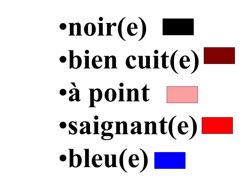 noir(e) bien cuit(e) à point saignant(e) bleu(e)
