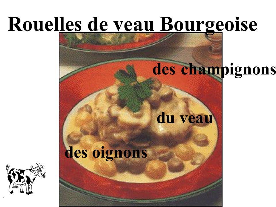 Rouelles de veau Bourgeoise des champignons des oignons du veau