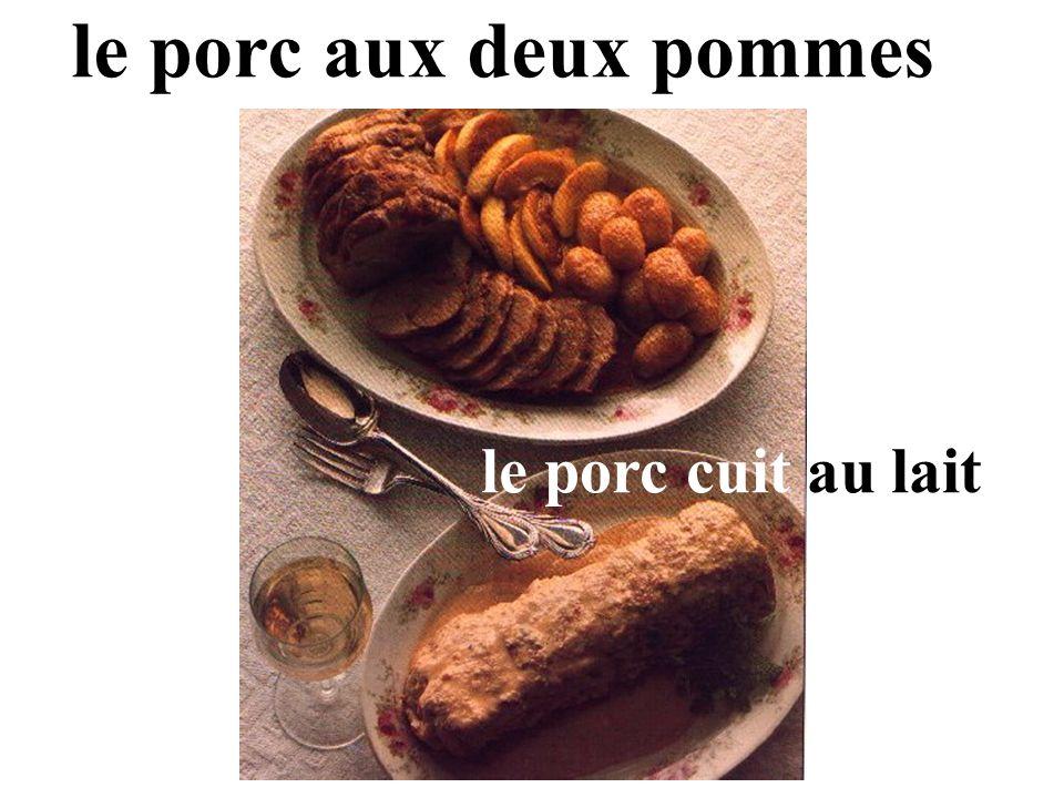 le porc aux deux pommes le porc cuit au lait