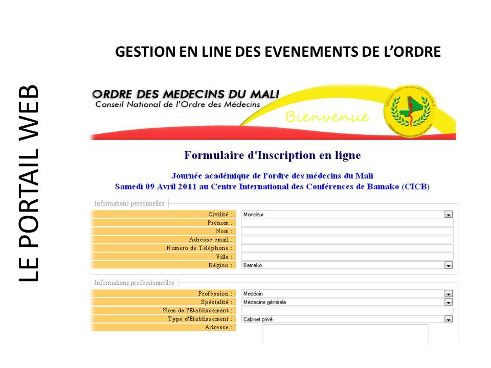 LE PORTAIL WEB GESTION EN LINE DES EVENEMENTS DE LORDRE
