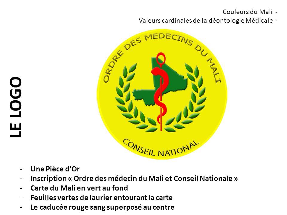 LE NOUVEAU CADUCÉE -Une Pièce dOr -Inscription « Ordre des médecin du Mali et Conseil Nationale » -Feuilles vertes de laurier entourant la carte -Le caducée rouge sang superposé au centre -Nom du Médecin -N° dinscription à lordre (Numéro dIdentifiant Professionnel NIP) Couleurs du Mali - Valeurs cardinales de la déontologie Médicale -