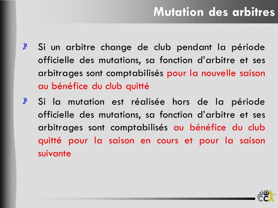 Si un arbitre change de club pendant la période officielle des mutations, sa fonction darbitre et ses arbitrages sont comptabilisés pour la nouvelle s