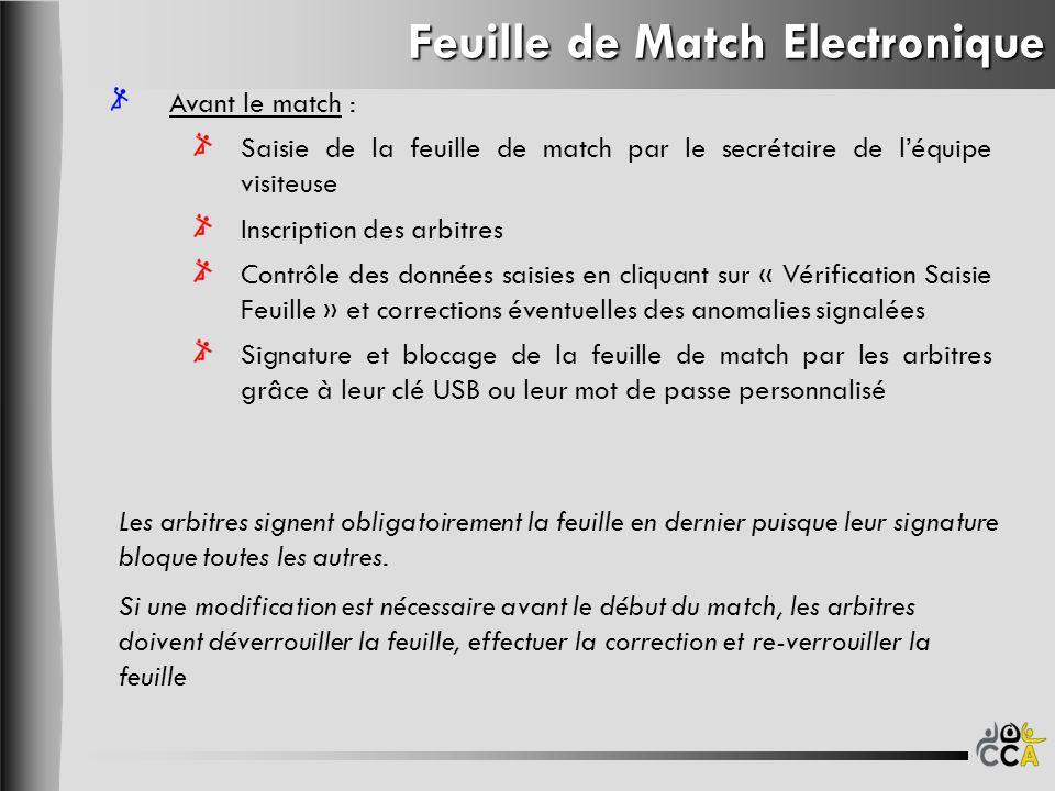 Feuille de Match Electronique Avant le match : Saisie de la feuille de match par le secrétaire de léquipe visiteuse Inscription des arbitres Contrôle