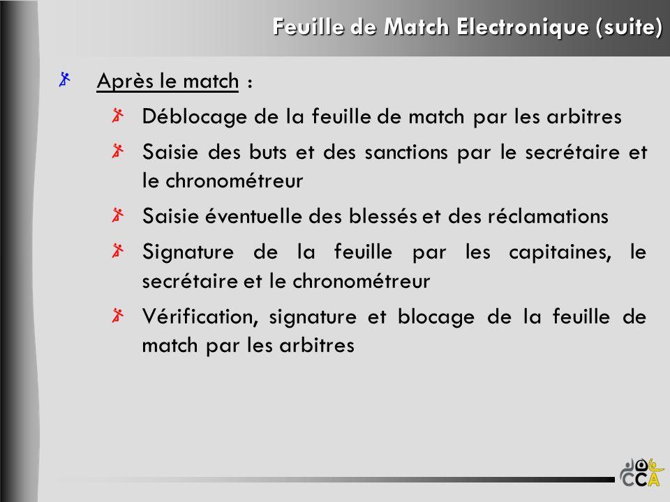 Feuille de Match Electronique (suite) Après le match : Déblocage de la feuille de match par les arbitres Saisie des buts et des sanctions par le secré