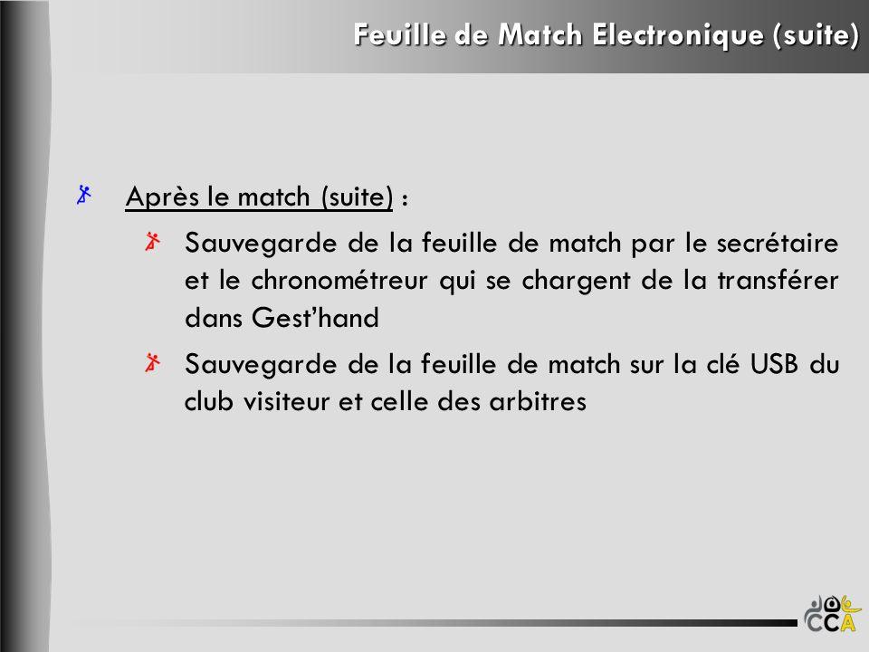 Feuille de Match Electronique (suite) Après le match (suite) : Sauvegarde de la feuille de match par le secrétaire et le chronométreur qui se chargent
