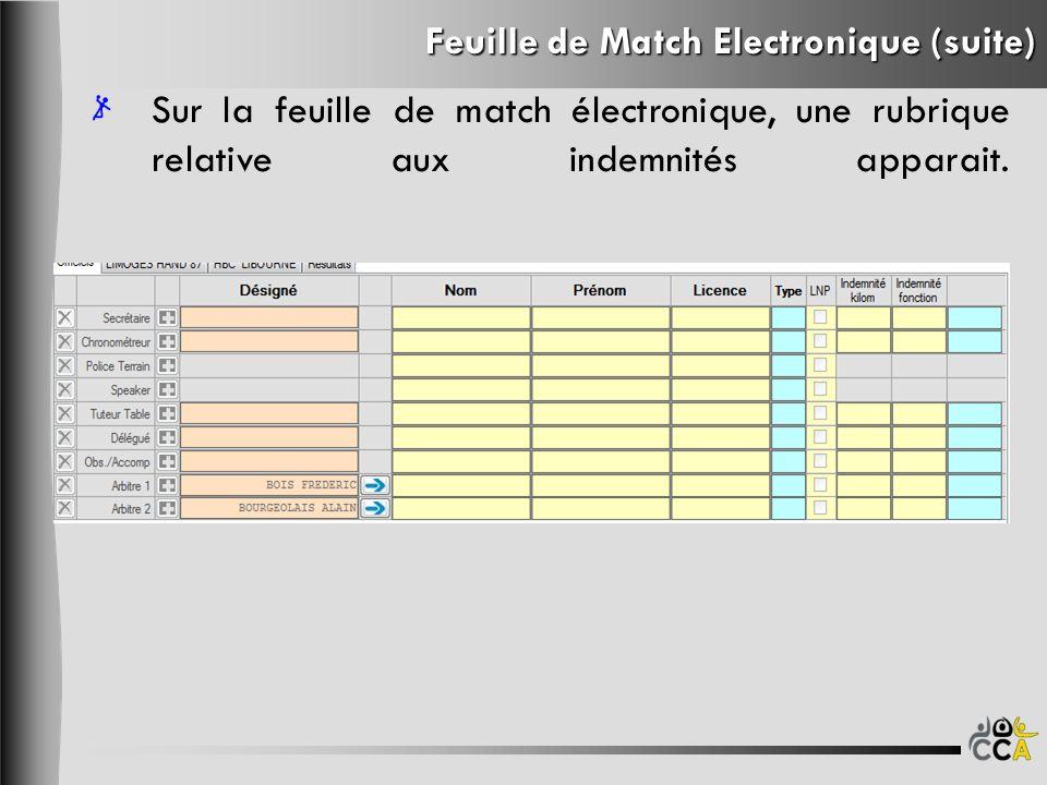 Feuille de Match Electronique (suite) Sur la feuille de match électronique, une rubrique relative aux indemnités apparait.