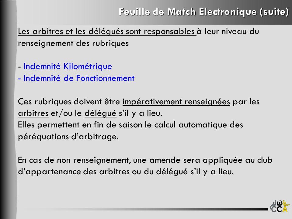 Feuille de Match Electronique (suite) Les arbitres et les délégués sont responsables à leur niveau du renseignement des rubriques - Indemnité Kilométr