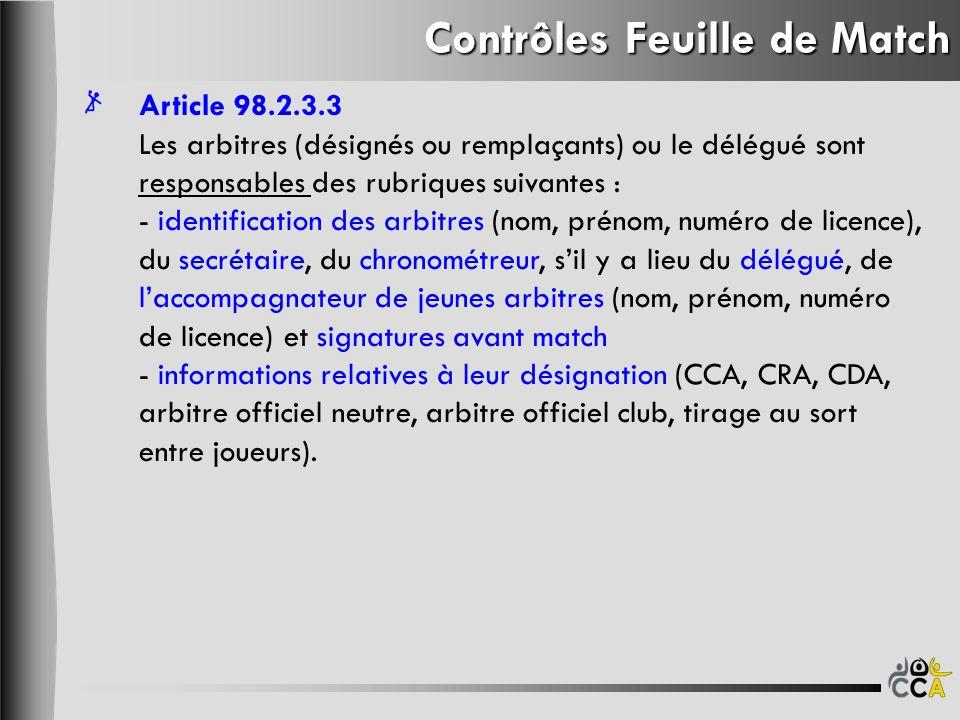 Contrôles Feuille de Match Article 98.2.3.3 Les arbitres (désignés ou remplaçants) ou le délégué sont responsables des rubriques suivantes : - identif