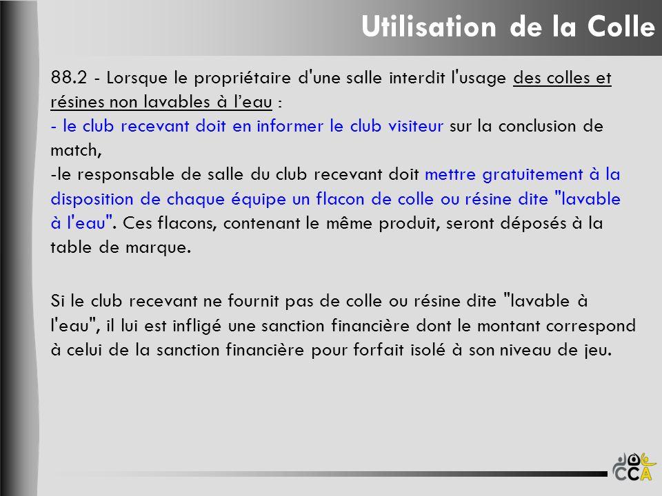 Utilisation de la Colle 88.2 - Lorsque le propriétaire d'une salle interdit l'usage des colles et résines non lavables à leau : - le club recevant doi