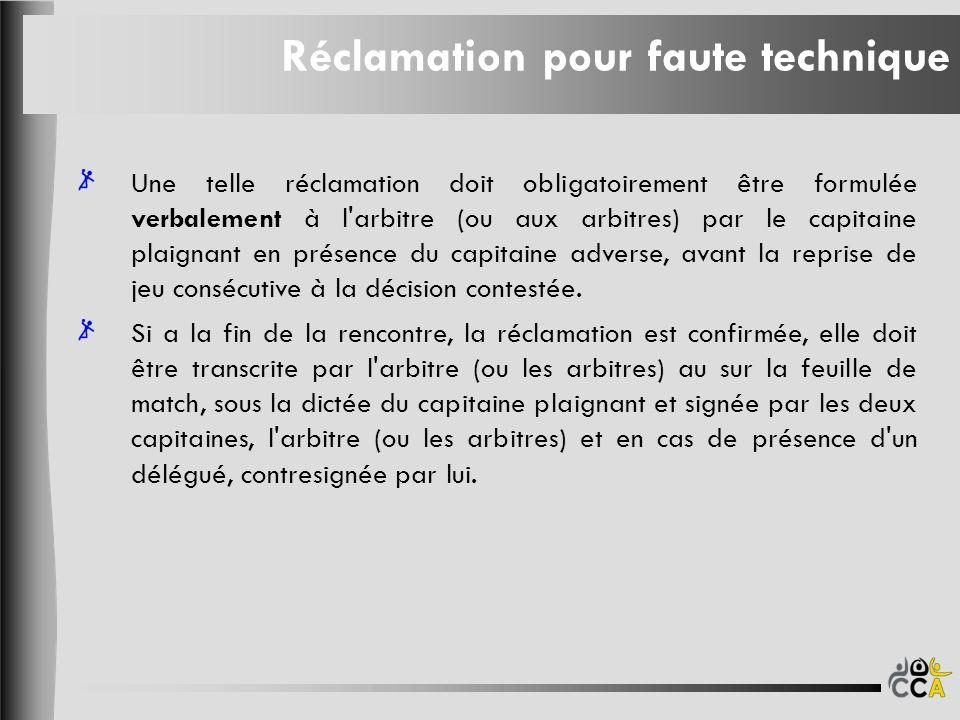 Réclamation pour faute technique Une telle réclamation doit obligatoirement être formulée verbalement à l'arbitre (ou aux arbitres) par le capitaine p