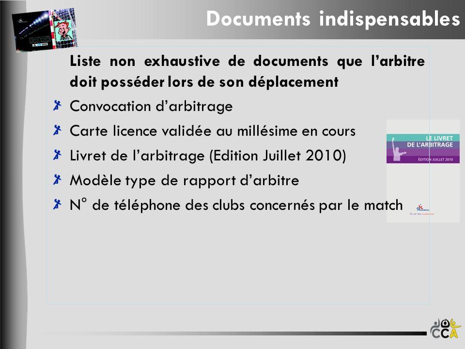 Liste non exhaustive de documents que larbitre doit posséder lors de son déplacement Convocation darbitrage Carte licence validée au millésime en cour