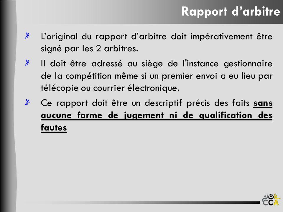 Rapport darbitre Loriginal du rapport darbitre doit impérativement être signé par les 2 arbitres. Il doit être adressé au siège de l'instance gestionn