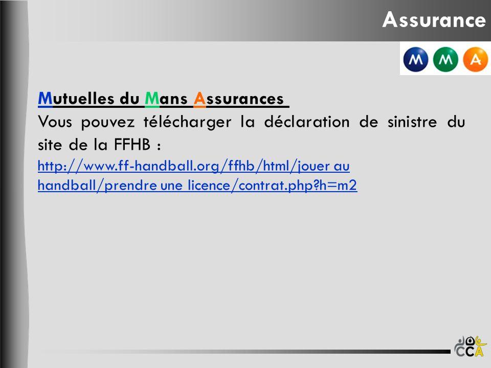 Mutuelles du Mans Assurances Vous pouvez télécharger la déclaration de sinistre du site de la FFHB : http://www.ff-handball.org/ffhb/html/jouer au han