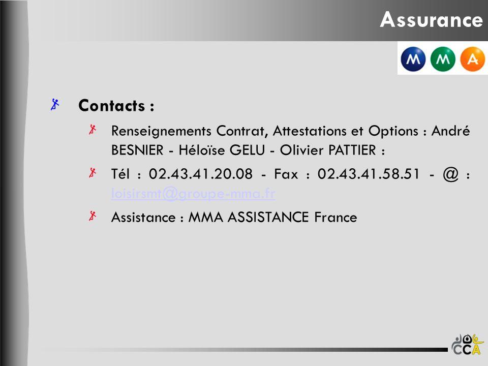 Assurance Contacts : Renseignements Contrat, Attestations et Options : André BESNIER - Héloïse GELU - Olivier PATTIER : Tél : 02.43.41.20.08 - Fax : 0