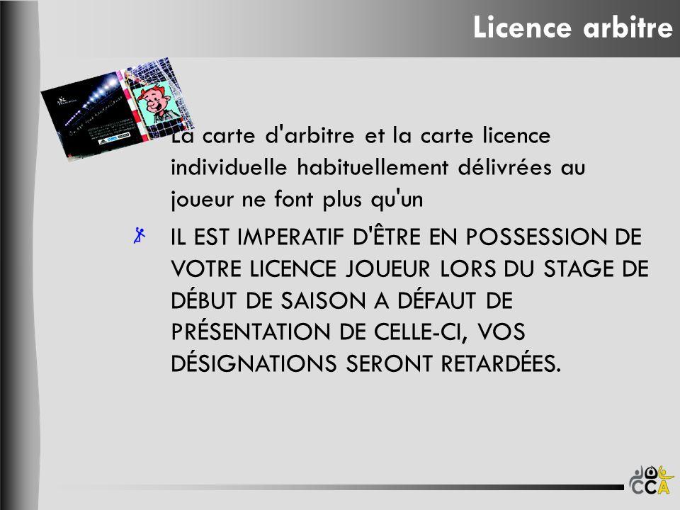 La carte d'arbitre et la carte licence individuelle habituellement délivrées au joueur ne font plus qu'un IL EST IMPERATIF D'ÊTRE EN POSSESSION DE VOT
