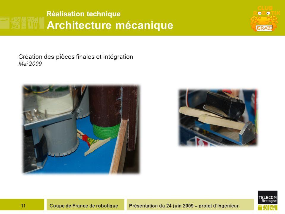 Présentation du 24 juin 2009 – projet dingénieurCoupe de France de robotique11 Réalisation technique Architecture mécanique Création des pièces finales et intégration Mai 2009