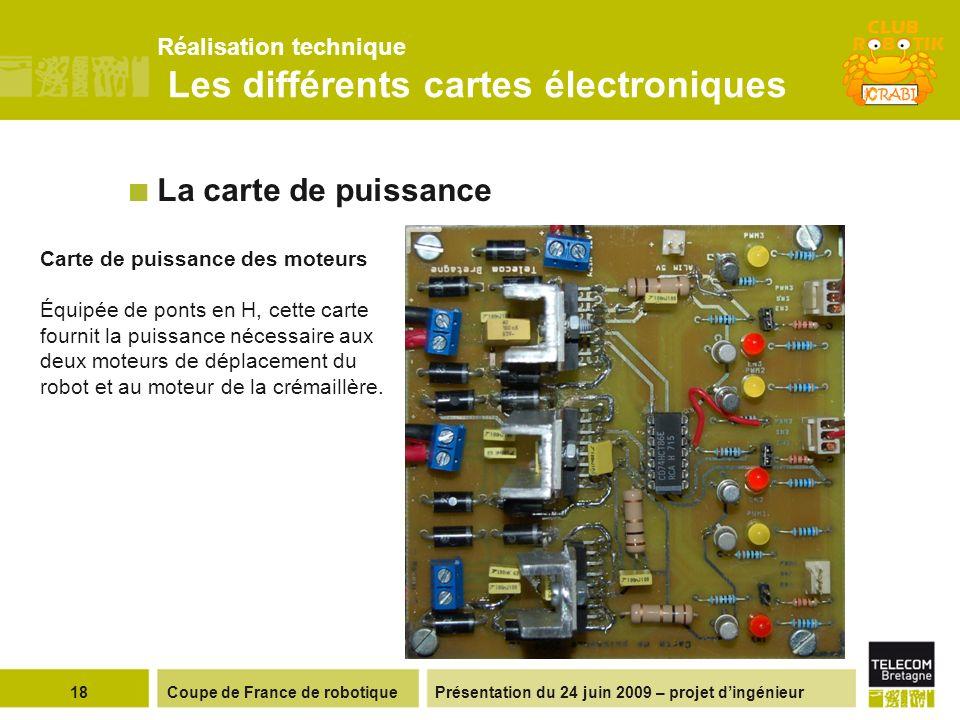 Présentation du 24 juin 2009 – projet dingénieur Réalisation technique Les différents cartes électroniques 18Coupe de France de robotique La carte de