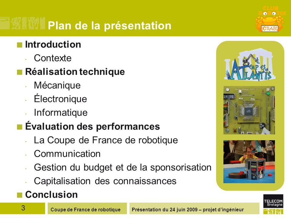 Présentation du 24 juin 2009 – projet dingénieurCoupe de France de robotique Plan de la présentation Introduction Contexte Réalisation technique Mécan