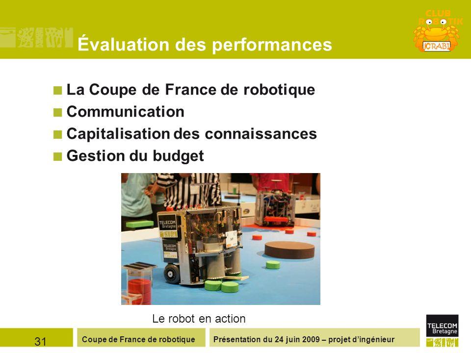 Présentation du 24 juin 2009 – projet dingénieurCoupe de France de robotique Évaluation des performances 31 La Coupe de France de robotique Communicat