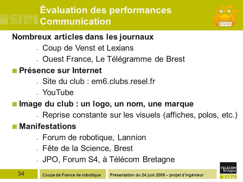 Présentation du 24 juin 2009 – projet dingénieurCoupe de France de robotique Évaluation des performances Communication Nombreux articles dans les jour