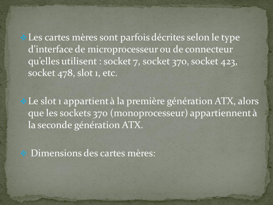 Les cartes mères sont parfois décrites selon le type d'interface de microprocesseur ou de connecteur quelles utilisent : socket 7, socket 370, socket
