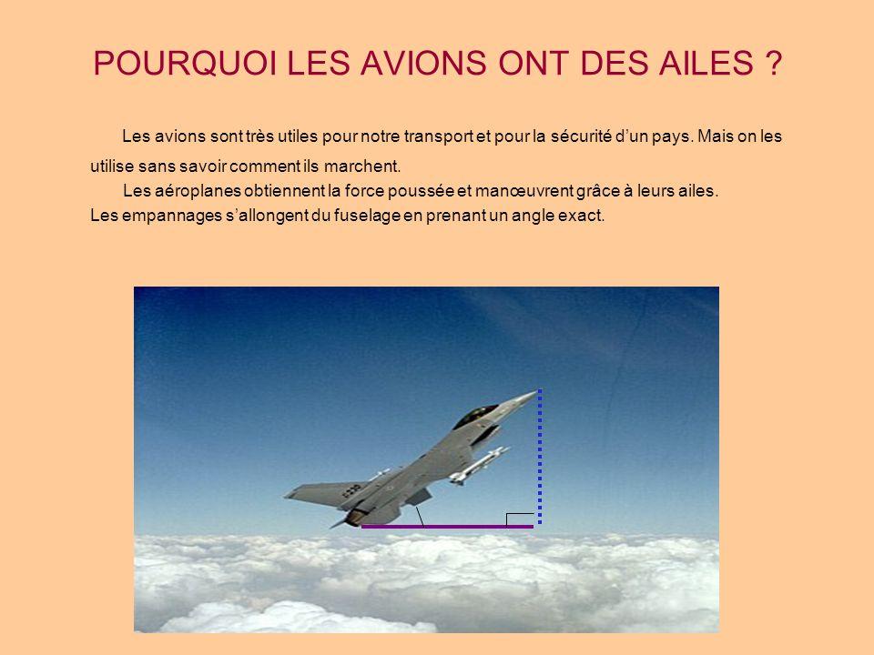POURQUOI LES AVIONS ONT DES AILES ? Les avions sont très utiles pour notre transport et pour la sécurité dun pays. Mais on les utilise sans savoir com