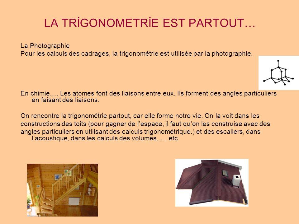 LA TRİGONOMETRİE EST PARTOUT… La Photographie Pour les calculs des cadrages, la trigonométrie est utilisée par la photographie. En chimie…. Les atomes