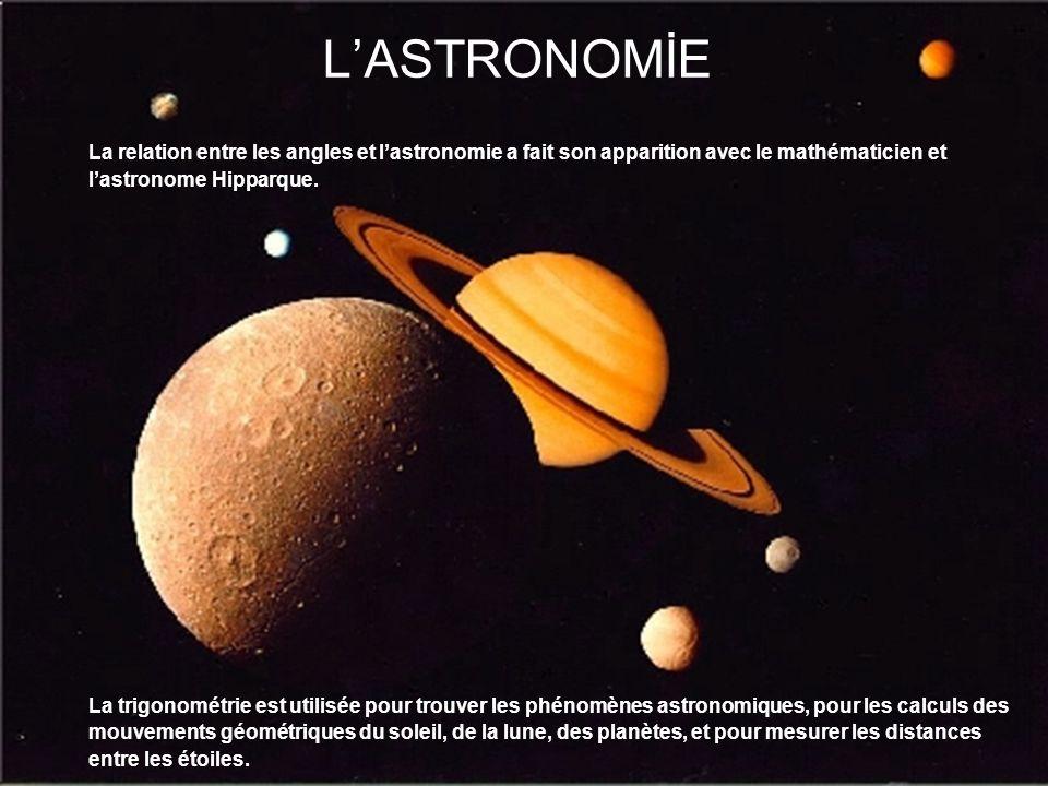 LASTRONOMİE La relation entre les angles et lastronomie a fait son apparition avec le mathématicien et lastronome Hipparque. La trigonométrie est util