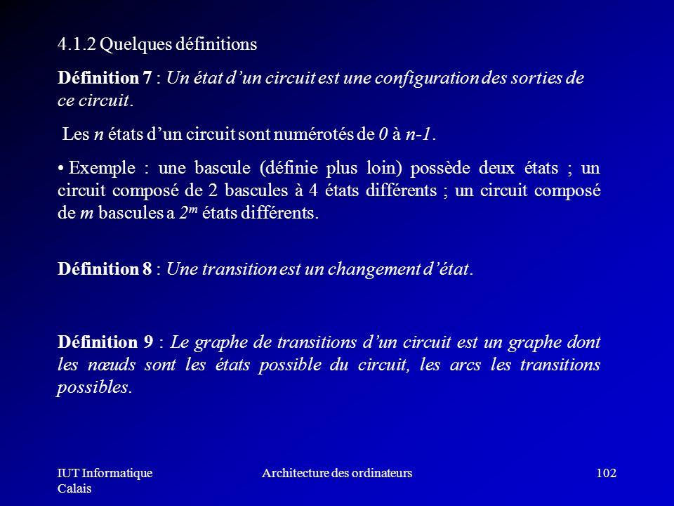 IUT Informatique Calais Architecture des ordinateurs102 4.1.2 Quelques définitions Définition 7 : Un état dun circuit est une configuration des sortie