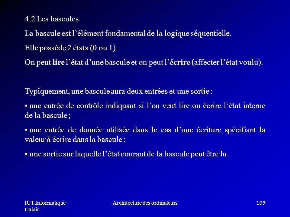 IUT Informatique Calais Architecture des ordinateurs105 4.2 Les bascules La bascule est lélément fondamental de la logique séquentielle. Elle possède