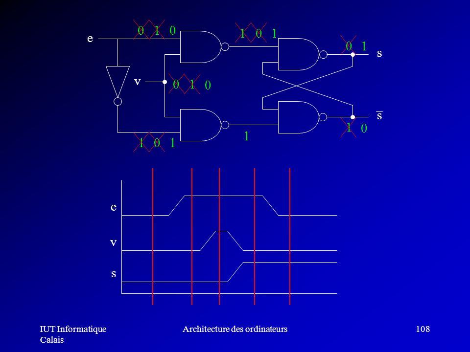 IUT Informatique Calais Architecture des ordinateurs108 01 v e s s v e s 1 0 0 1 1 0 1 0 1 1 1 0 0 0 1