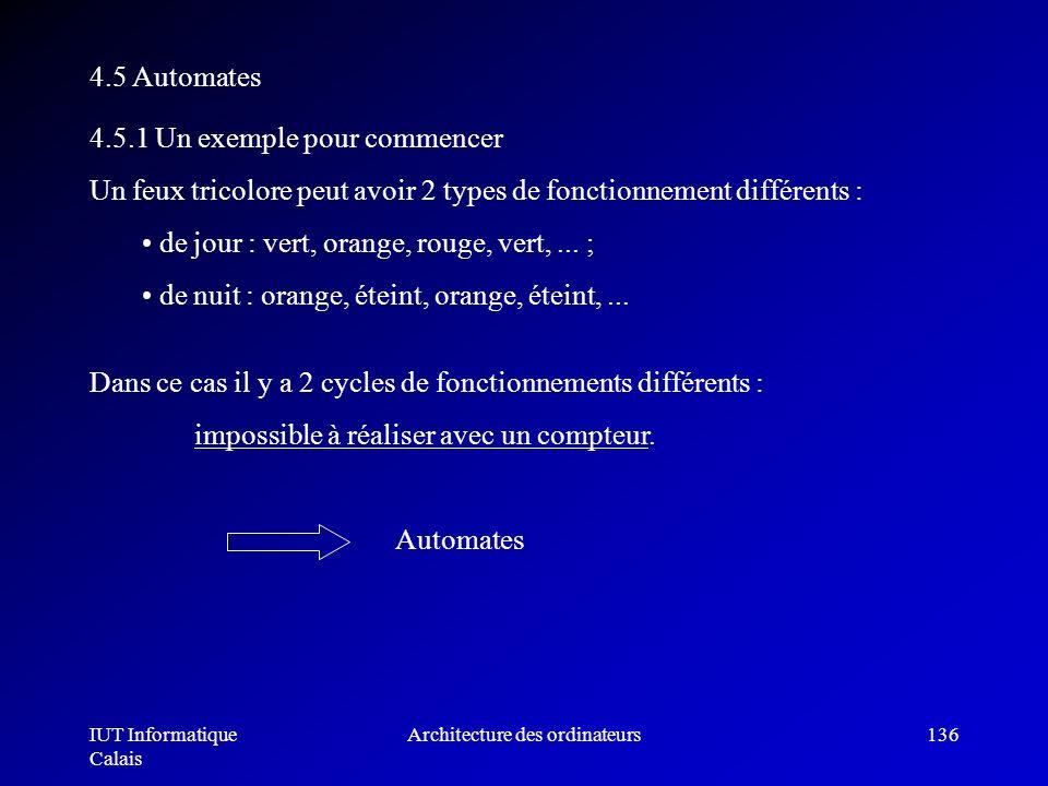 IUT Informatique Calais Architecture des ordinateurs136 4.5 Automates 4.5.1 Un exemple pour commencer Un feux tricolore peut avoir 2 types de fonction