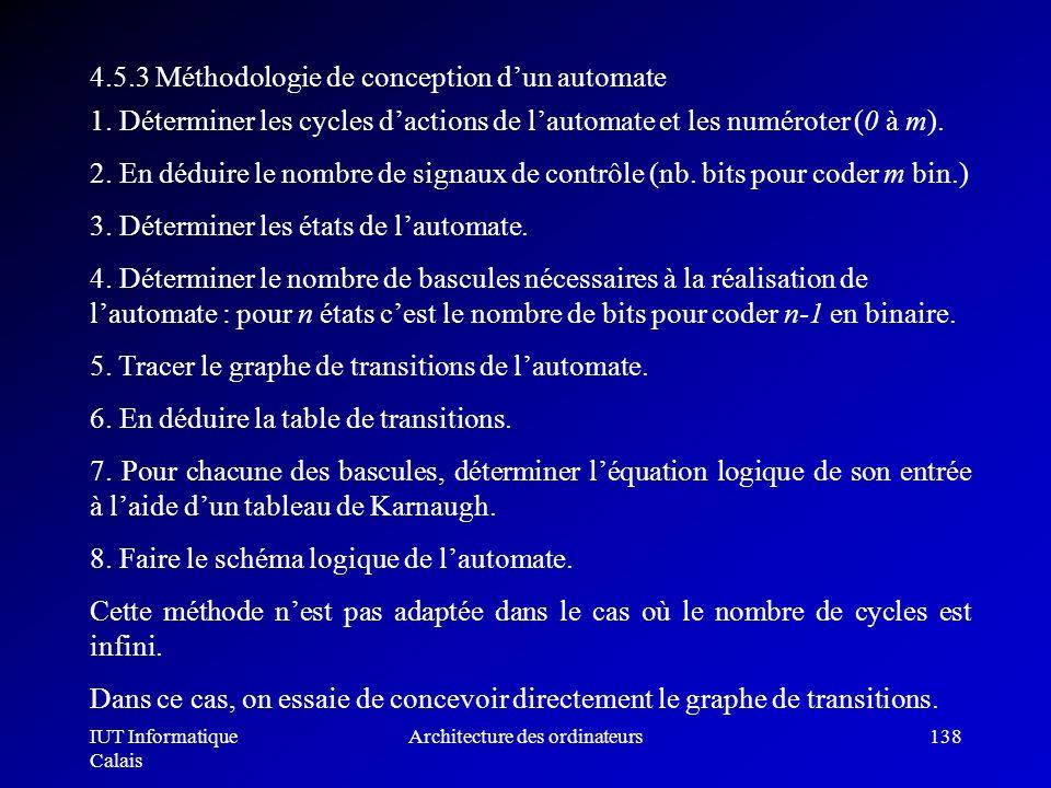 IUT Informatique Calais Architecture des ordinateurs138 4.5.3 Méthodologie de conception dun automate 1. Déterminer les cycles dactions de lautomate e