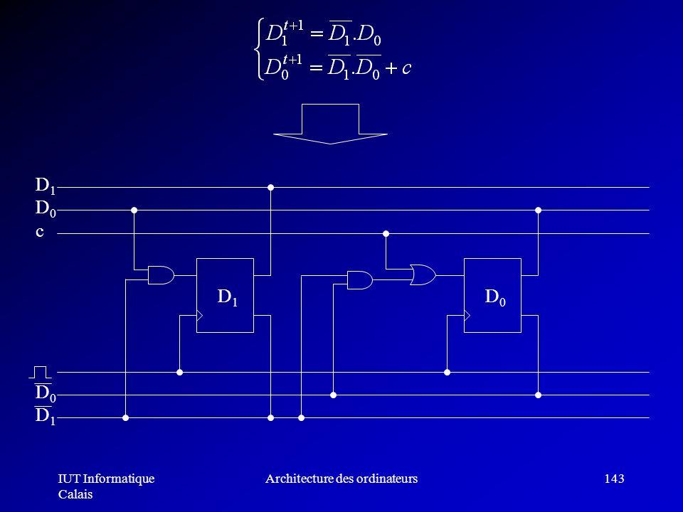 IUT Informatique Calais Architecture des ordinateurs143 D1D1 D0D0 D0D0 D1D1 D1D1 D0D0 c