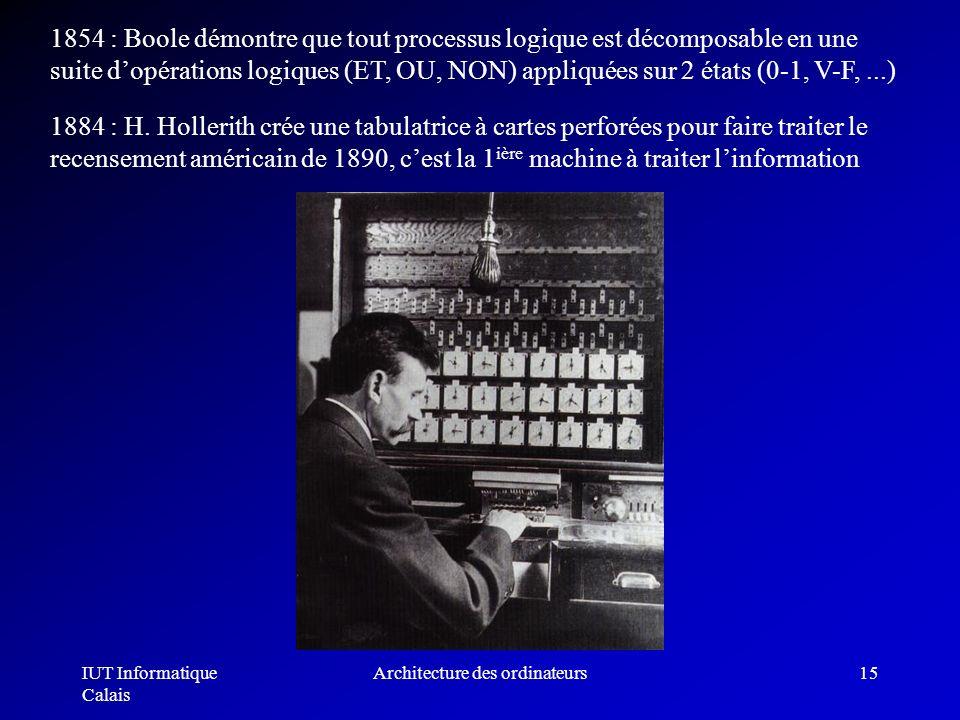 IUT Informatique Calais Architecture des ordinateurs15 1854 : Boole démontre que tout processus logique est décomposable en une suite dopérations logi