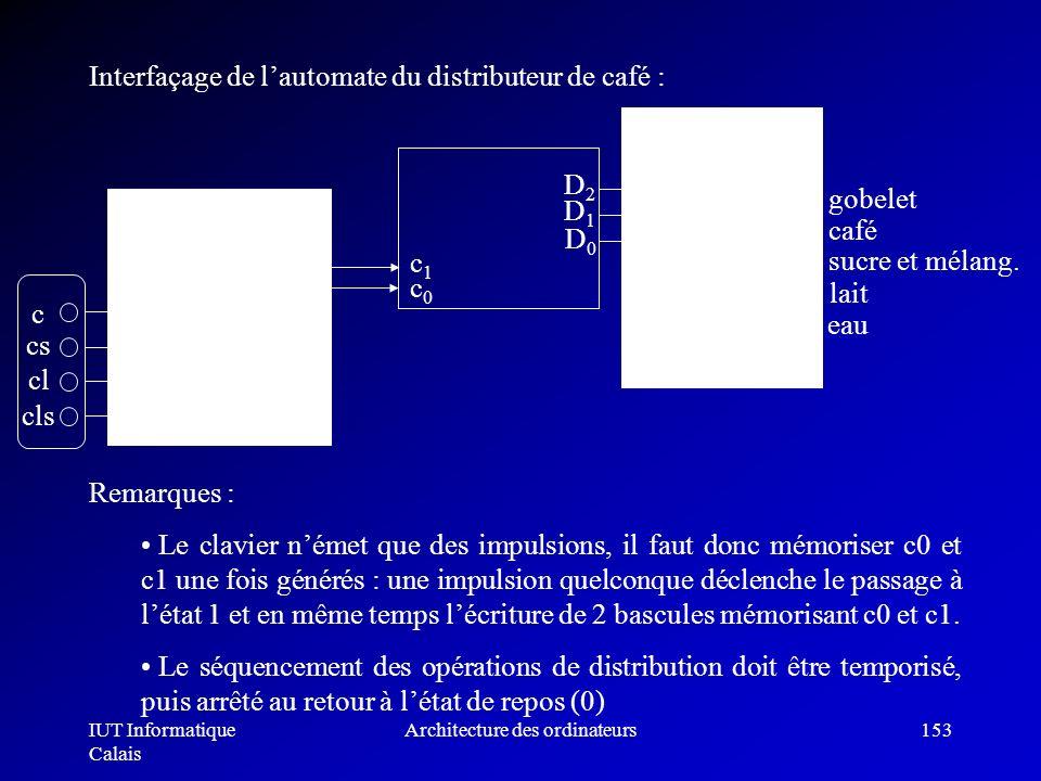 IUT Informatique Calais Architecture des ordinateurs153 encodeur décodeur c1c1 c0c0 c cs cl cls D2D2 D1D1 D0D0 gobelet café sucre et mélang. lait eau