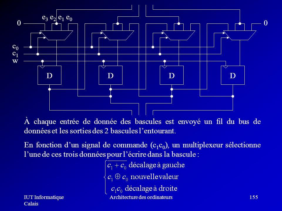 IUT Informatique Calais Architecture des ordinateurs155 À chaque entrée de donnée des bascules est envoyé un fil du bus de données et les sorties des