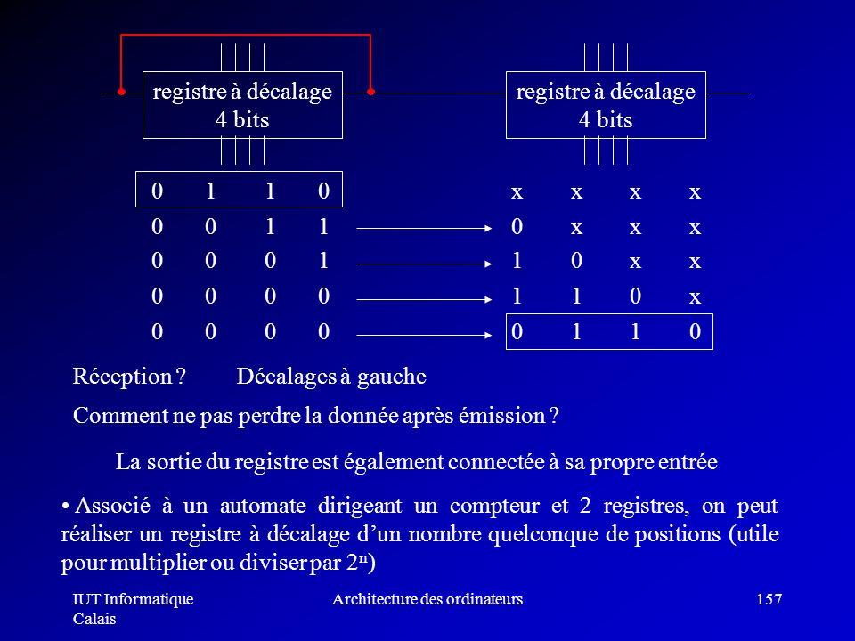 IUT Informatique Calais Architecture des ordinateurs157 Réception ? registre à décalage 4 bits 0 1 1 0 x x x x 0 0 1 1 0 x x x 0 0 0 1 1 0 x x 0 0 0 0