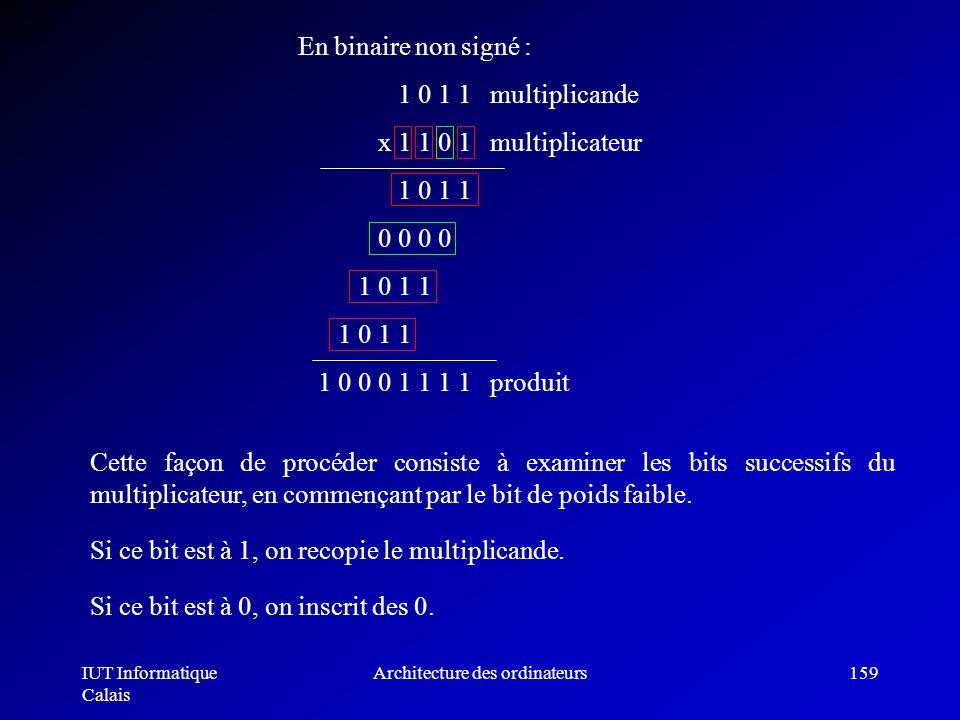 IUT Informatique Calais Architecture des ordinateurs159 Cette façon de procéder consiste à examiner les bits successifs du multiplicateur, en commença