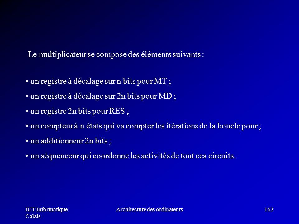 IUT Informatique Calais Architecture des ordinateurs163 un registre à décalage sur n bits pour MT ; un registre à décalage sur 2n bits pour MD ; un re
