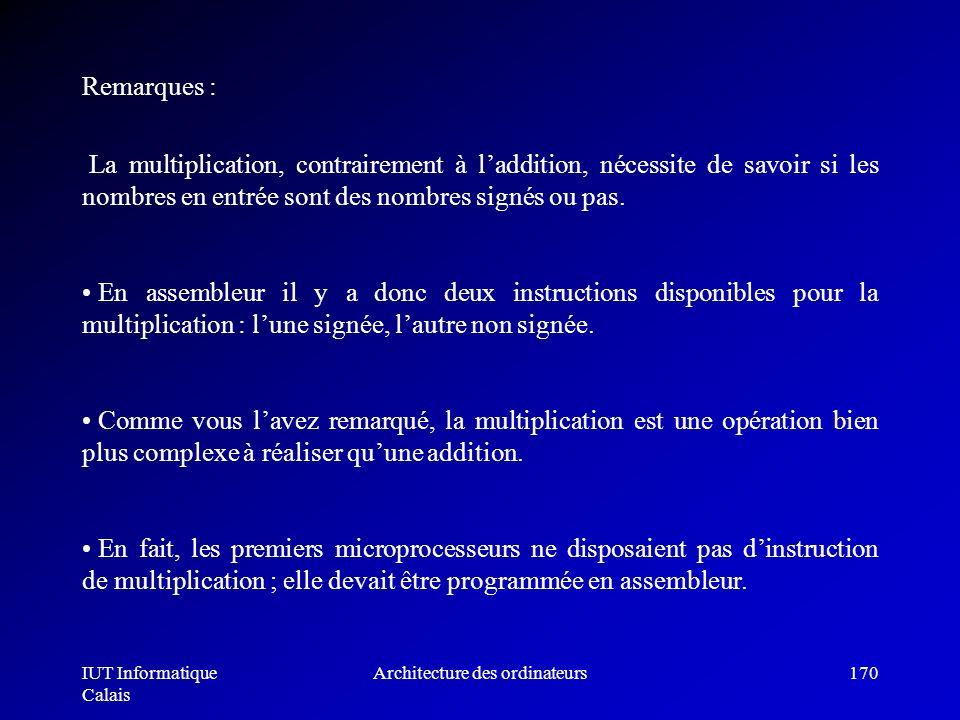 IUT Informatique Calais Architecture des ordinateurs170 La multiplication, contrairement à laddition, nécessite de savoir si les nombres en entrée son