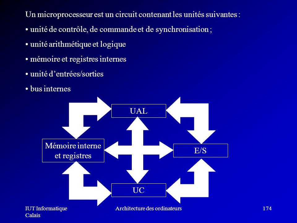 IUT Informatique Calais Architecture des ordinateurs174 unité de contrôle, de commande et de synchronisation ; unité arithmétique et logique mémoire e