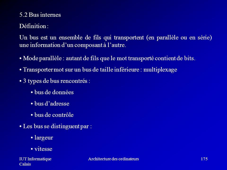 IUT Informatique Calais Architecture des ordinateurs175 5.2 Bus internes Définition : Un bus est un ensemble de fils qui transportent (en parallèle ou