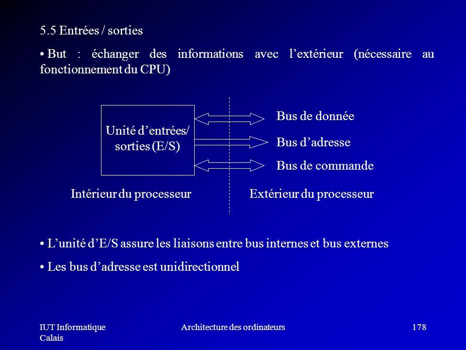 IUT Informatique Calais Architecture des ordinateurs178 5.5 Entrées / sorties But : échanger des informations avec lextérieur (nécessaire au fonctionn
