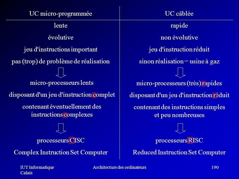 IUT Informatique Calais Architecture des ordinateurs190 UC micro-programmée lente évolutive jeu d'instructions important pas (trop) de problème de réa