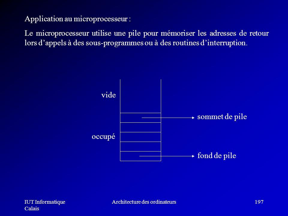 IUT Informatique Calais Architecture des ordinateurs197 Application au microprocesseur : Le microprocesseur utilise une pile pour mémoriser les adress