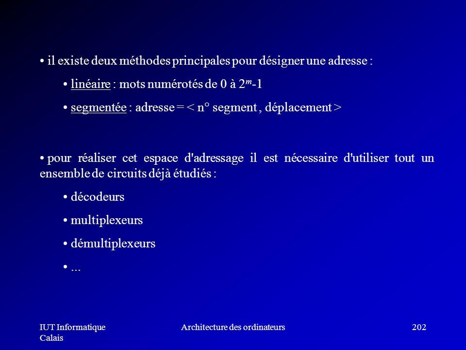 IUT Informatique Calais Architecture des ordinateurs202 il existe deux méthodes principales pour désigner une adresse : linéaire : mots numérotés de 0