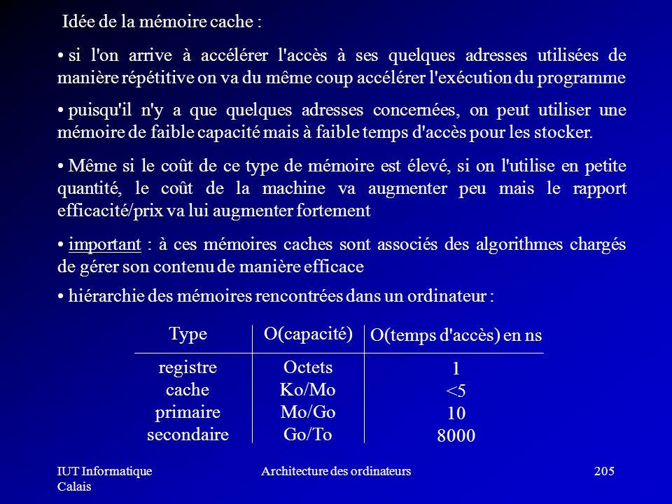 IUT Informatique Calais Architecture des ordinateurs205 Idée de la mémoire cache : si l'on arrive à accélérer l'accès à ses quelques adresses utilisée